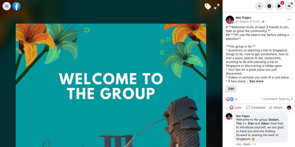 Group Leads welcome message tag example