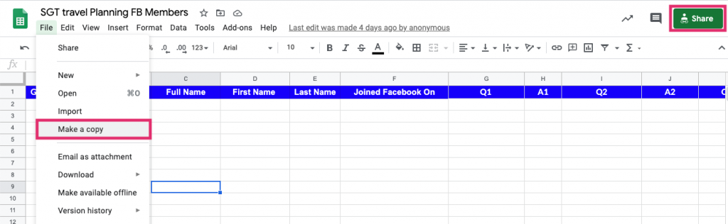 Creating the spreadsheet for Group Leads