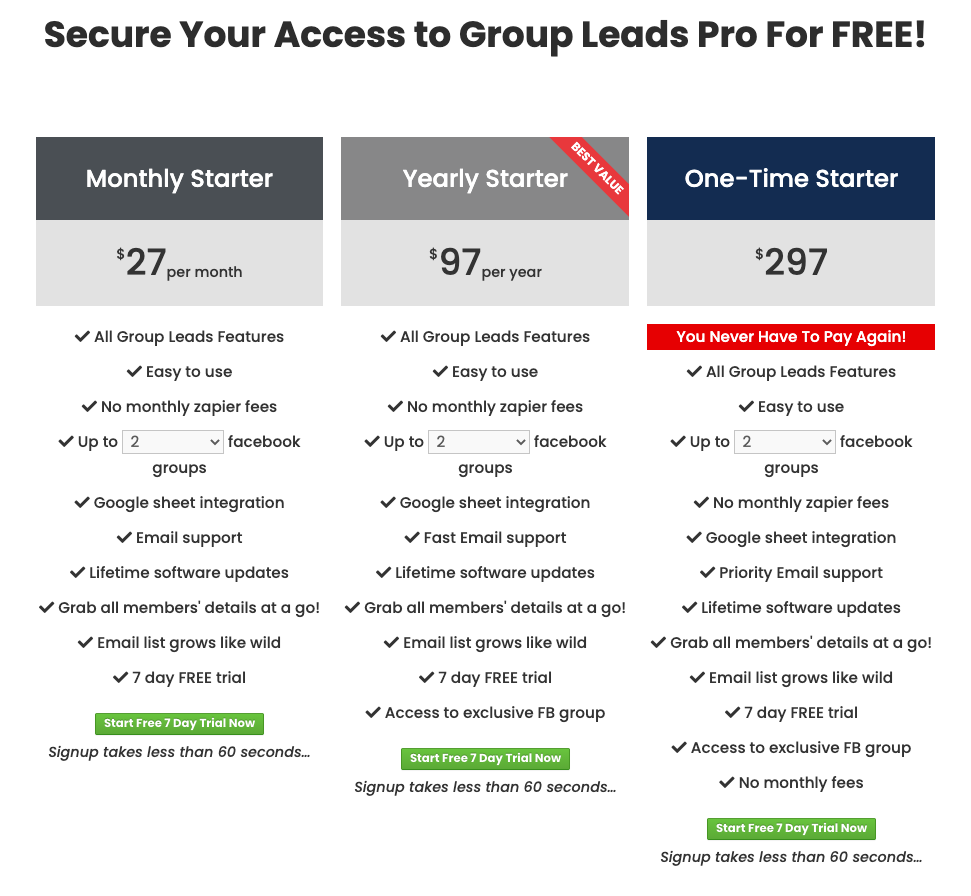 Group Leads pricing table