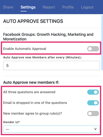 screenshot of Auto membership approval with Group Leads