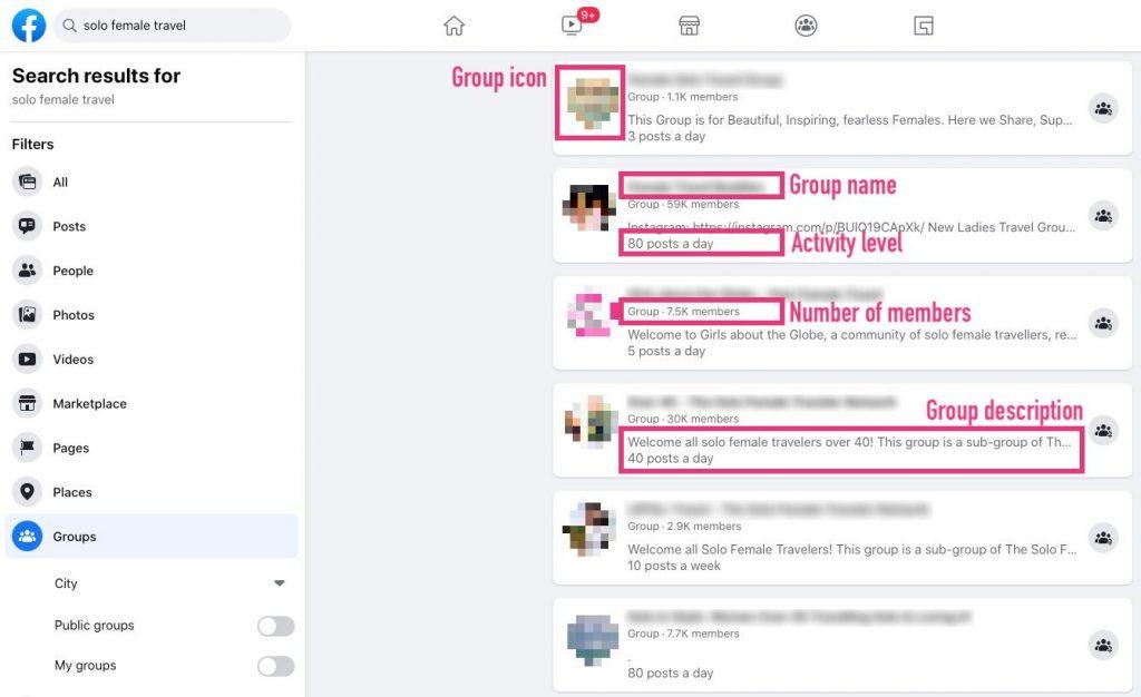 Facebook group name search