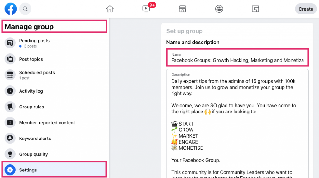 How to change a Facebook Group name