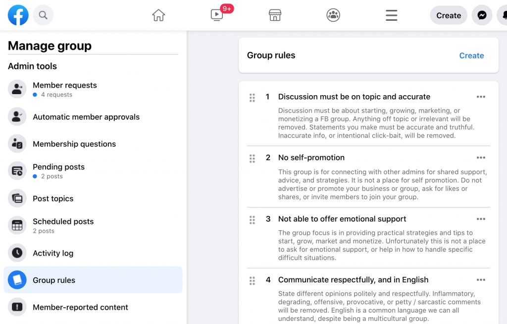 Facebook Group rules screenshot example