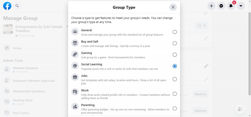 7 Facebook Group Types