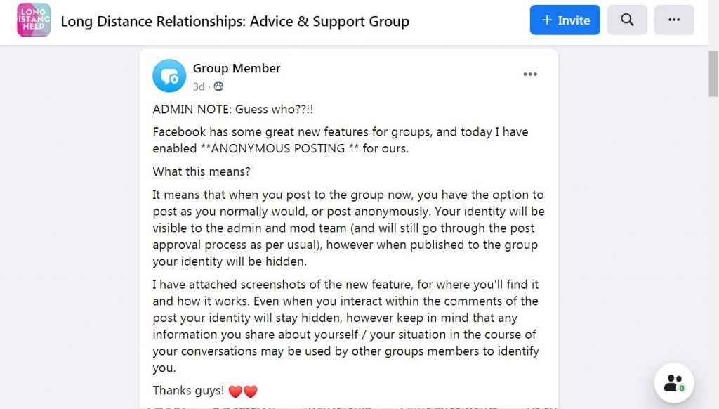 Anonymous posting in Facebook Groups