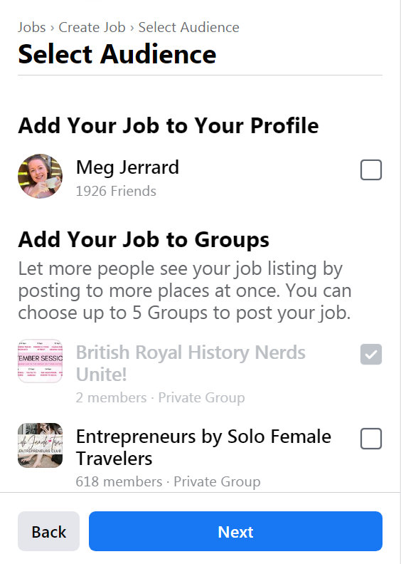 Creating a job in a jobs group Facebook Type (3)