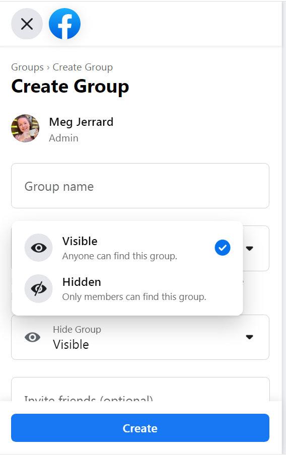 Creating a secret Facebook Group