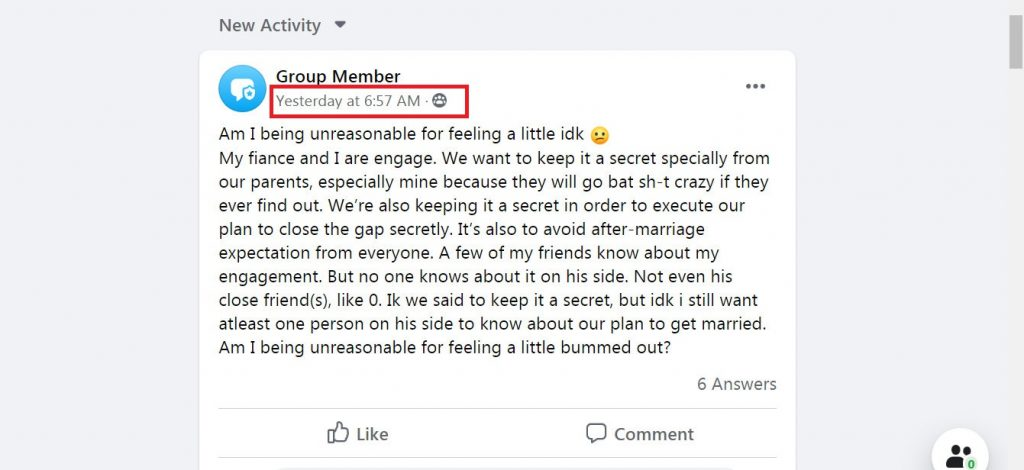 Facebook anonymous post in groups