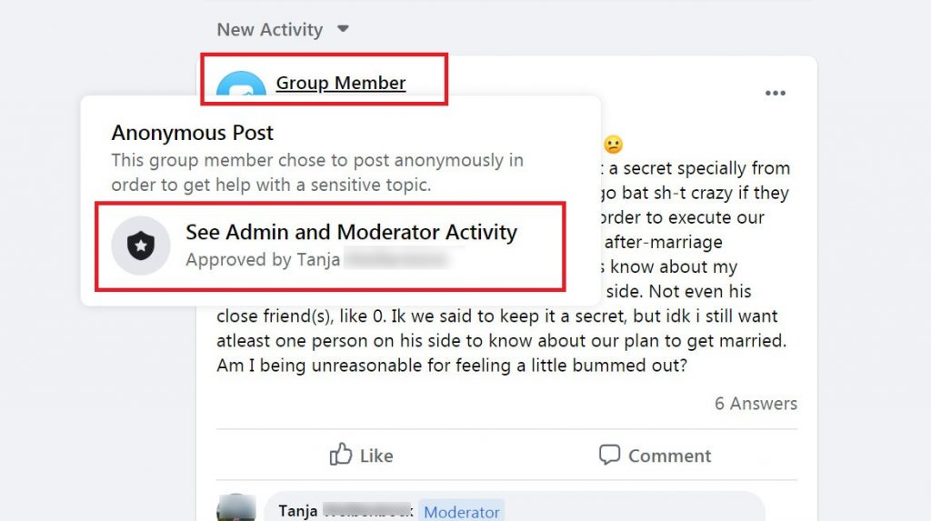 Anonymous post in Facebook Group