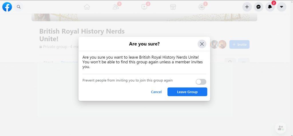 Leaving a secret group