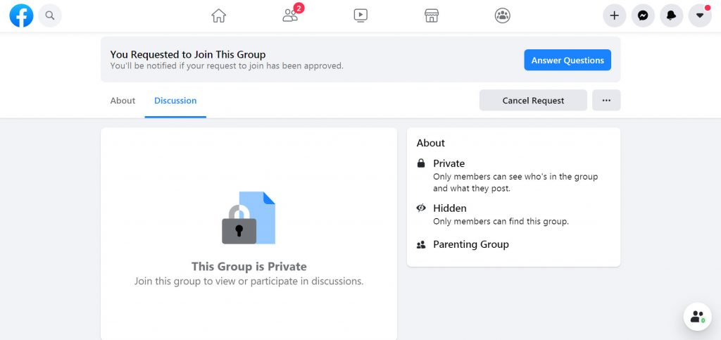 Secret Facebook group invite