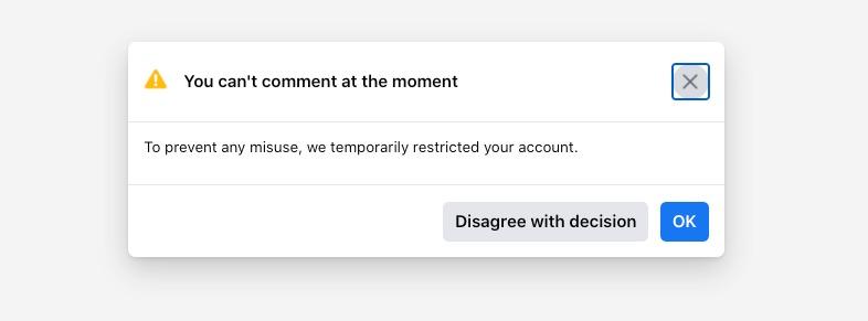Facebook jail notification